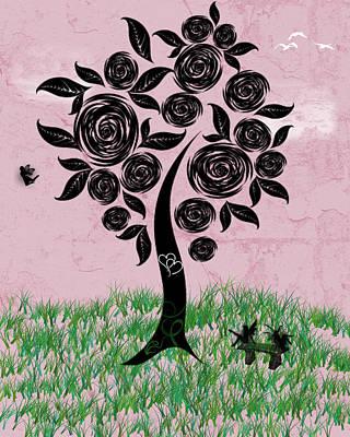 Digital Art - Rosey Posey by Rhonda Barrett