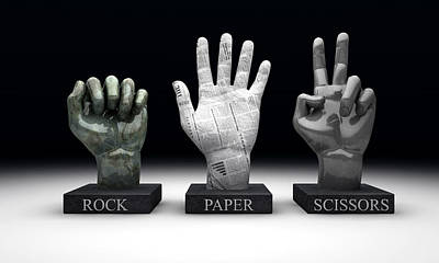 Knock Digital Art - Roshambo - Rock Paper Scissors by Allan Swart