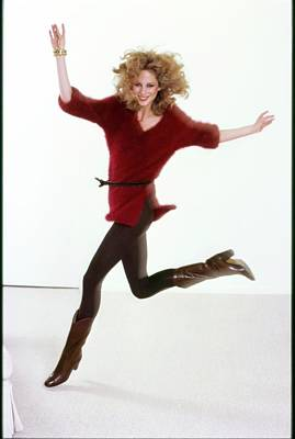 Photograph - Rosie Vela Wearing A Red Sweater by Arthur Elgort