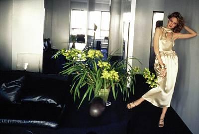 Photograph - Rosie Vela Wearing A Silk Ensemble by Arthur Elgort