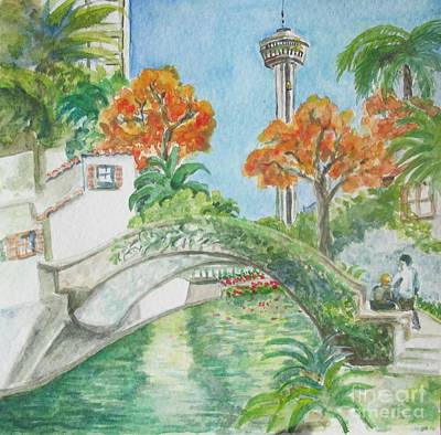 Painting - Rositas Bridge On The Riverwalk by Lynn Maverick Denzer