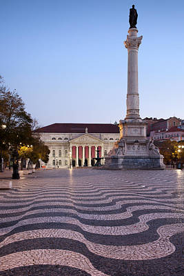 Theater Town Photograph - Rossio Square At Dawn In Lisbon by Artur Bogacki