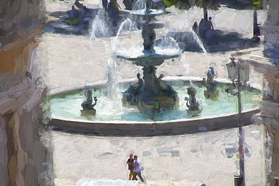 Mixed Media - Rossio Square Lisbon by Phil Darby