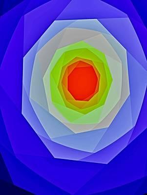 Kunst Mixed Media - Rot Blau Grau  by Klaas Hartz