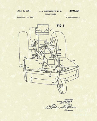 Tractor Drawing - Rotary Mower 1961 Patent Art by Prior Art Design