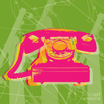 Pop Art Wall Art - Digital Art - Rotary Phone by Jean luc Comperat