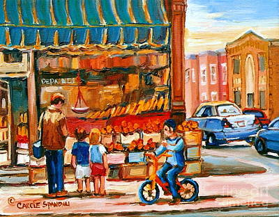 Roter's Fifties Fruit Store Vintage Montreal City Scene Paintings Art Print by Carole Spandau