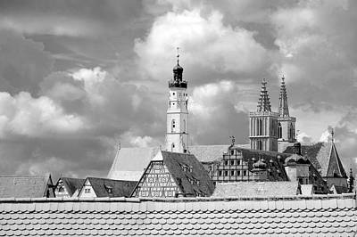 Photograph - Rothenburg Towers In Black And White by Corinne Rhode