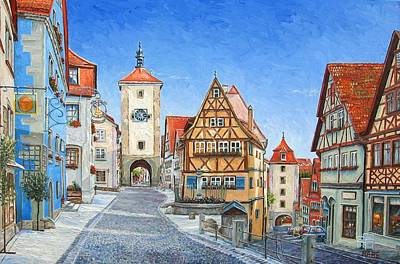 Germany Painting - Rothenburg Germany by Mike Rabe