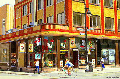 Montreal Cityscenes Painting - Rotisserie Portugaise Bbq Biking By Sunny St Urbain Corner Mont Royal Cafe Scenes Carole Spandau   by Carole Spandau