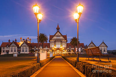 Rotorua Bath House Illuminated Twilight New Zealand Art Print by Colin and Linda McKie