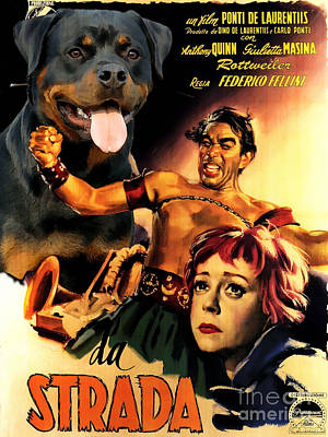 Painting - Rottweiler Art Canvas Print - La Strada Movie Poster by Sandra Sij
