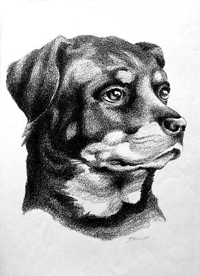 Rottweiler Devotion Art Print by Patricia Howitt