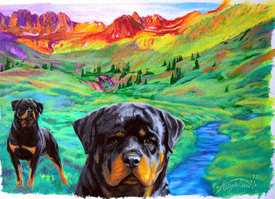 Rottweiler Dogs Landscape Painting Bright Colors Art Print by Aaliyah Scott