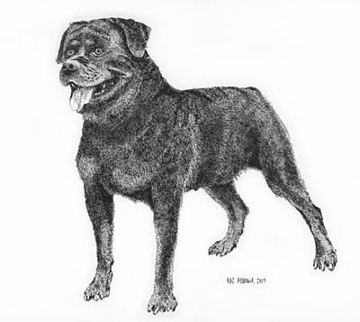 Rottweiler Dog Drawing - Rottweiler Ichi by Kaz Ayukawa