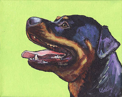 Rottweiler Wall Art - Painting - Rottweiler by Greg and Linda Halom