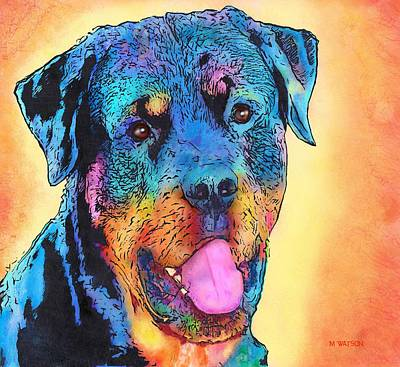 Digital Art - Rottweiler by Marlene Watson