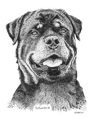 Rottweiler Dog Drawing - Rottweiler Ni by Kaz Ayukawa