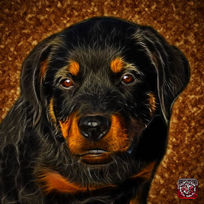 Art Print featuring the painting Rottweiler Pop Art 0481 - Bc1 - Orange by James Ahn