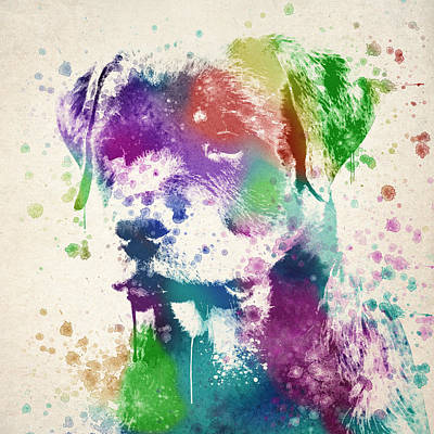 Vibrant Color Digital Art - Rottweiler Splash by Aged Pixel