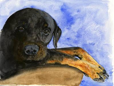 Rottweiler Wall Art - Painting - Rottweiler Watercolor Portrait by Sheryl Heatherly Hawkins