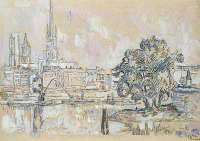 Pastel Drawing Drawing - Rouen Cathedral  by Paul Signac