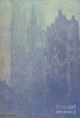 Rouen Cathedral Foggy Weather Print by Claude Monet