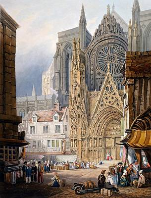 Medieval Entrance Drawing - Rouen Cathedral by Samuel Prout