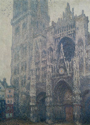 Rouen Cathedral West Portal Grey Weather Print by Claude Monet