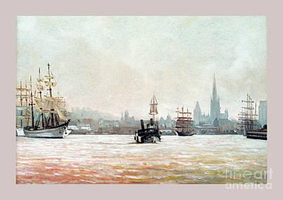 Rouen-tall Ships Art Print by Caroline Beaumont