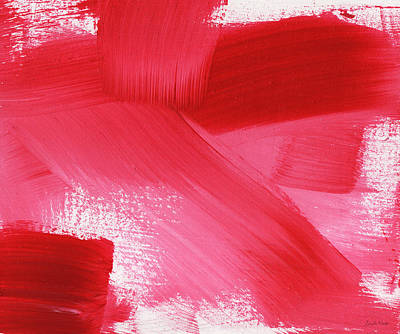 Red Abstract Mixed Media - Rouge 2- Horizontal Abstract Painting by Linda Woods