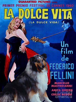 Painting - Rough Collie Art Canvas Print - La Dolce Vita Movie Poster by Sandra Sij