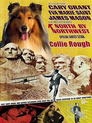 Painting - Rough Collie Art Canvas Print - North By Northwest Movie Poster by Sandra Sij