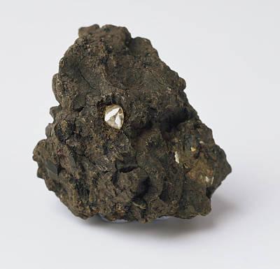 Crystalline Photograph - Rough Diamond Embedded In Black Rock by Dorling Kindersley/uig