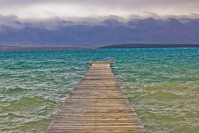 Photograph - Rough Sea And Foggy Mountain Wooden Boardwalk by Brch Photography