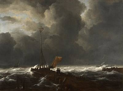 Netherlands Painting - Rough Sea At A Jetty by Jacob van Ruisdael
