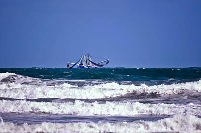 Art Print featuring the photograph Rough Seas Shrimping by DigiArt Diaries by Vicky B Fuller