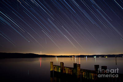 Round Bay Startrails And A Meteor Shower Art Print by Benjamin Reed