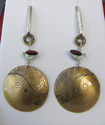 Brass Etched Jewelry - Round Etched Red Earrings by Brenda Berdnik