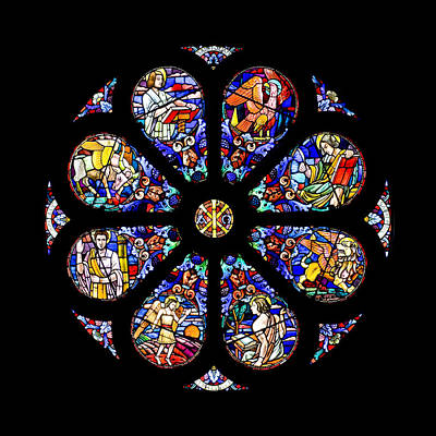Photograph - Round Stained Glass Window by Charles Lupica