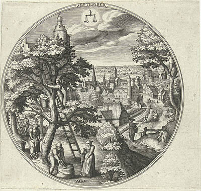 Round Table With An Autumn Landscape And Autumn Scenes Art Print by Adriaen Collaert