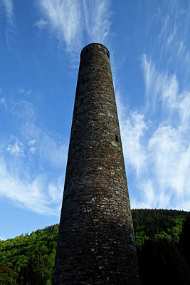 Monastic Photograph - Round Tower At St Kevins Church by Panoramic Images