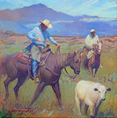 Horse Pastels Painting - Round Up At Star Ranch by Ernest Principato