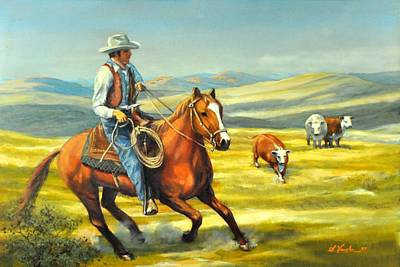 Cattle Roundup Painting - Round Up  by Sidney Vaughn