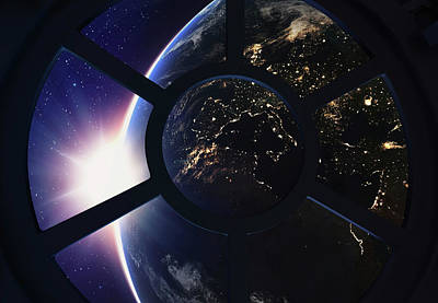 Outer Space Photograph - Round Window With View Of Earth by Andrzej Wojcicki