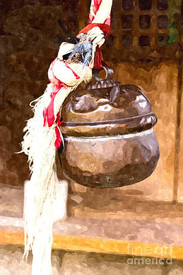 Digital Art - Rounded Bell And Rope In A Small Shinto Shrine by Beverly Claire Kaiya