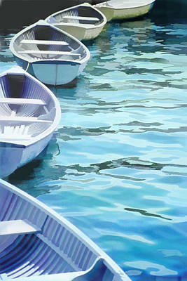 Computer Art Painting - Rounded Row Of Rowboats by Elaine Plesser