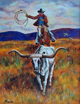 Steer Painting - Rounding Up The Stray by Joan Mace