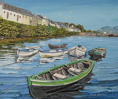 Currach Painting - Roundstone Boats Connemara Ireland by Diana Shephard