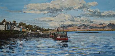 Currach Painting - Roundstone Connemara Ireland by Diana Shephard